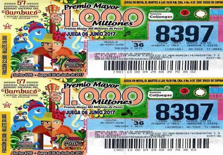 Lotería del Huila, con edición conmemorativa del Festival