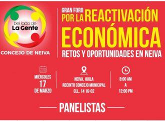 Conozca los panelistas del Gran Foro por la Reactivación Económica de Neiva